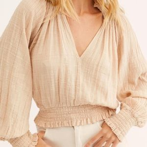 FP One Light Pink Solid Smocked Neck Top